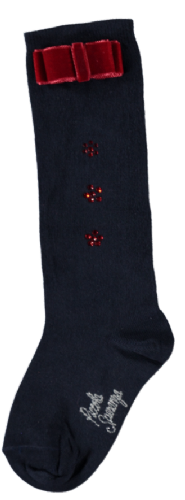 Piccola Speranza Girls Navy Bow Socks